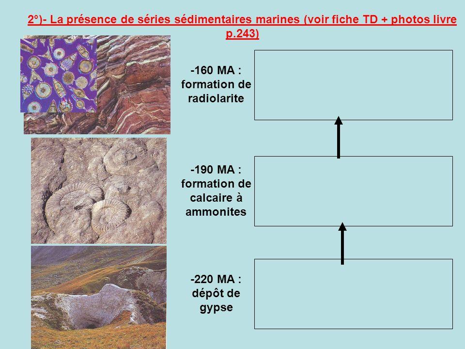 -160 MA : formation de radiolarite