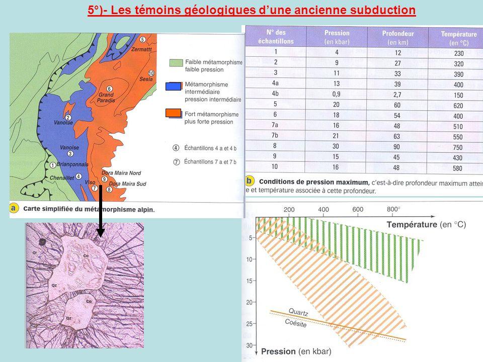 5°)- Les témoins géologiques d'une ancienne subduction