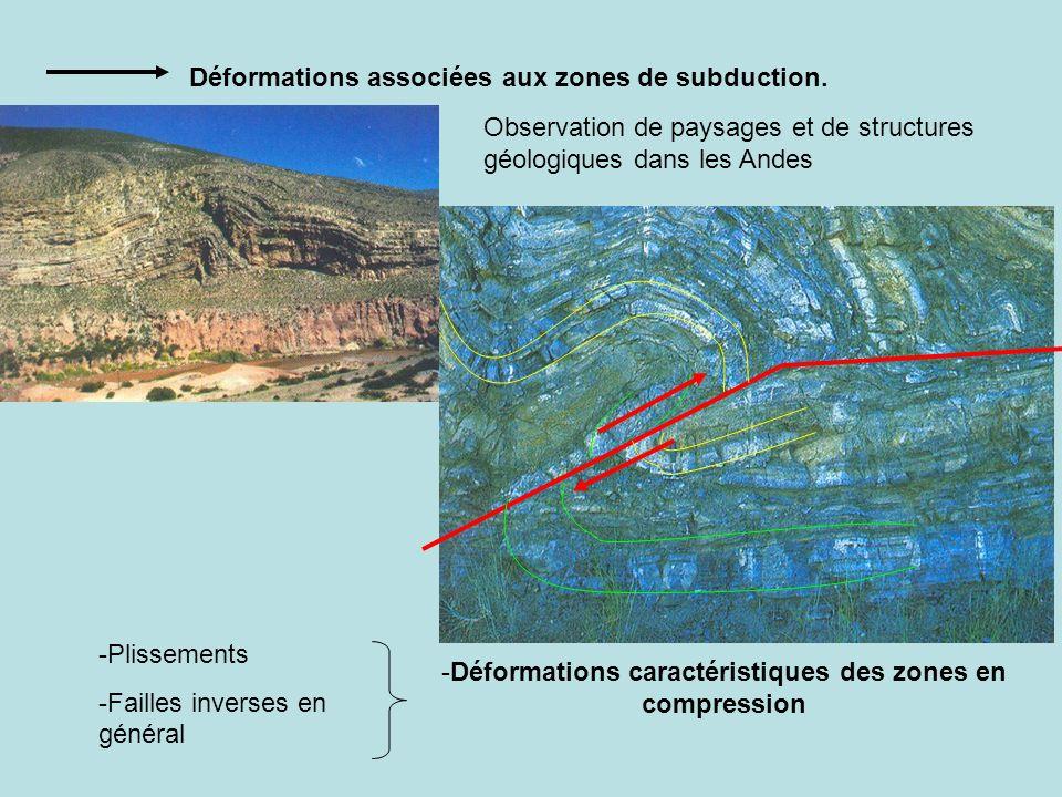 Déformations caractéristiques des zones en compression