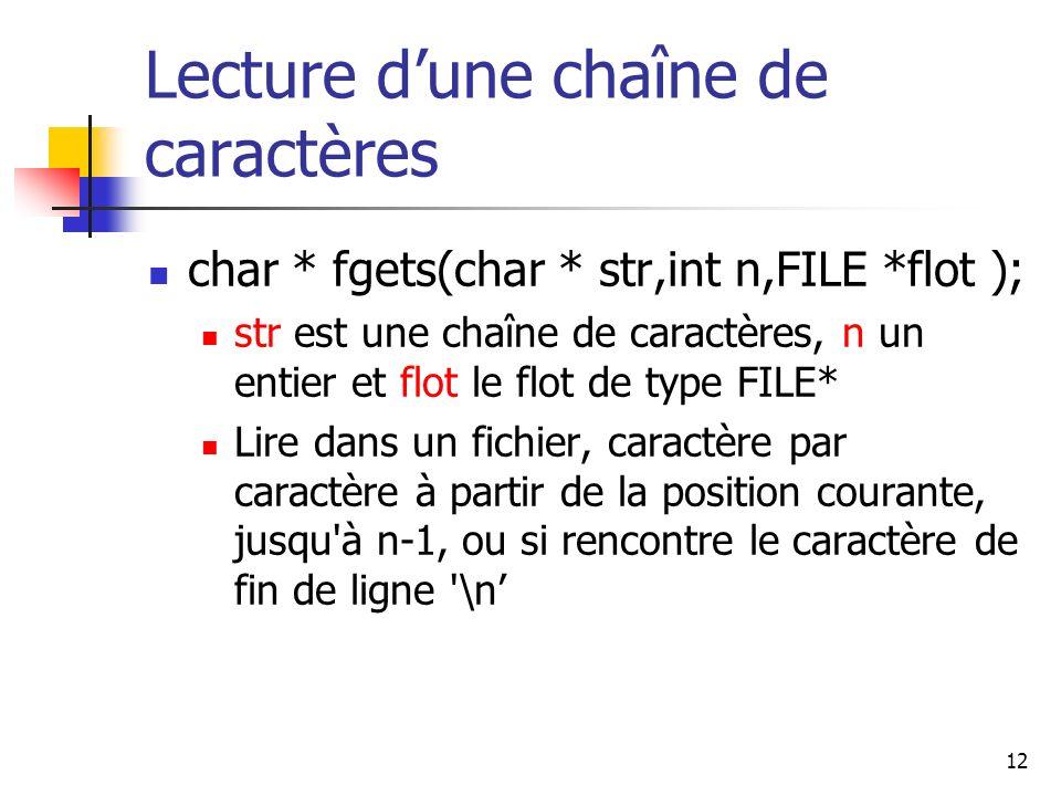 Lecture d'une chaîne de caractères