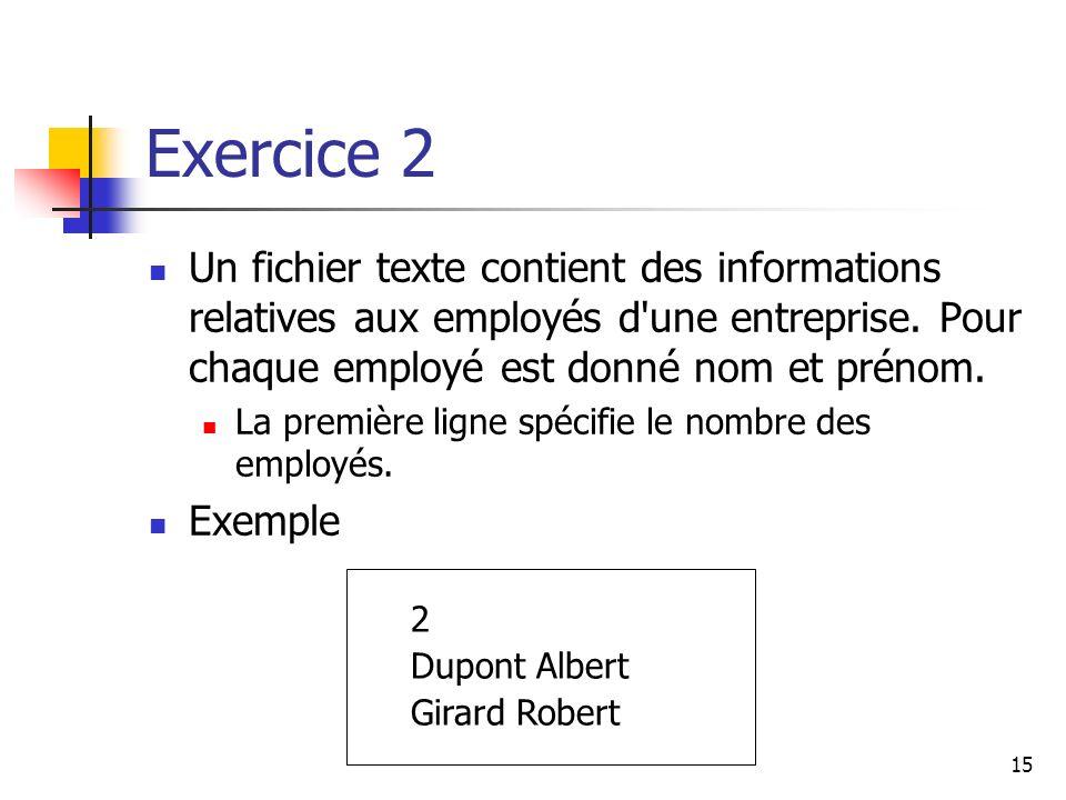 Exercice 2 Un fichier texte contient des informations relatives aux employés d une entreprise. Pour chaque employé est donné nom et prénom.