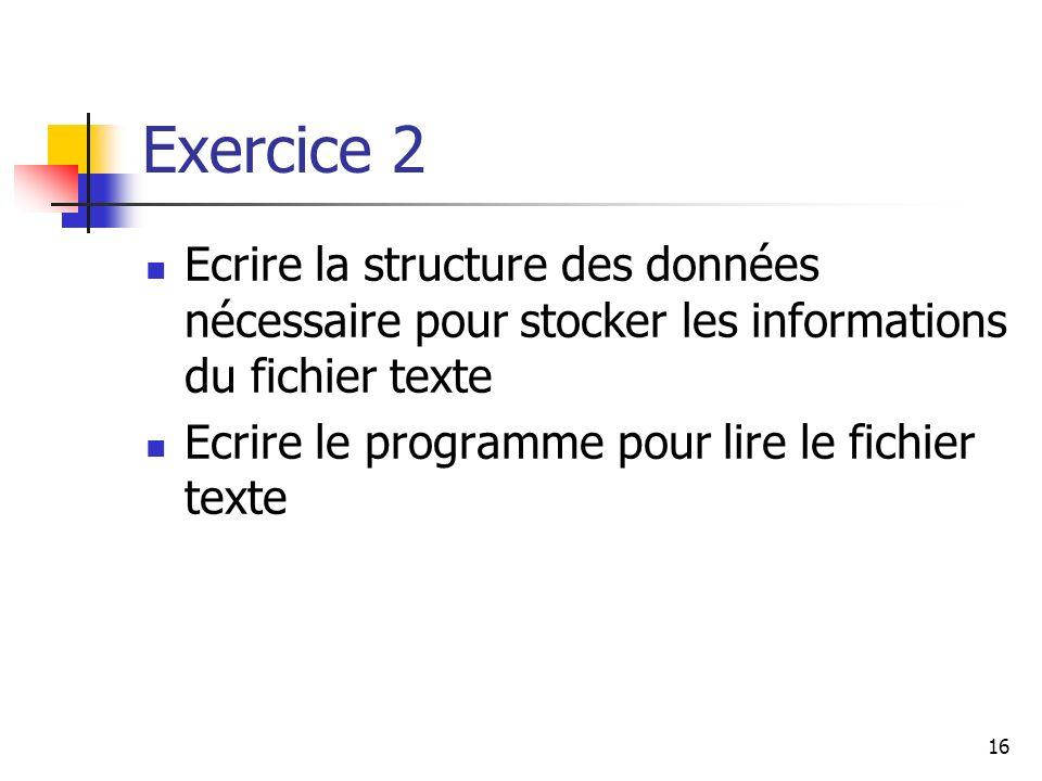 Exercice 2 Ecrire la structure des données nécessaire pour stocker les informations du fichier texte.
