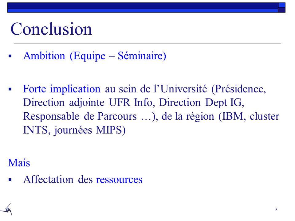 Conclusion Ambition (Equipe – Séminaire)