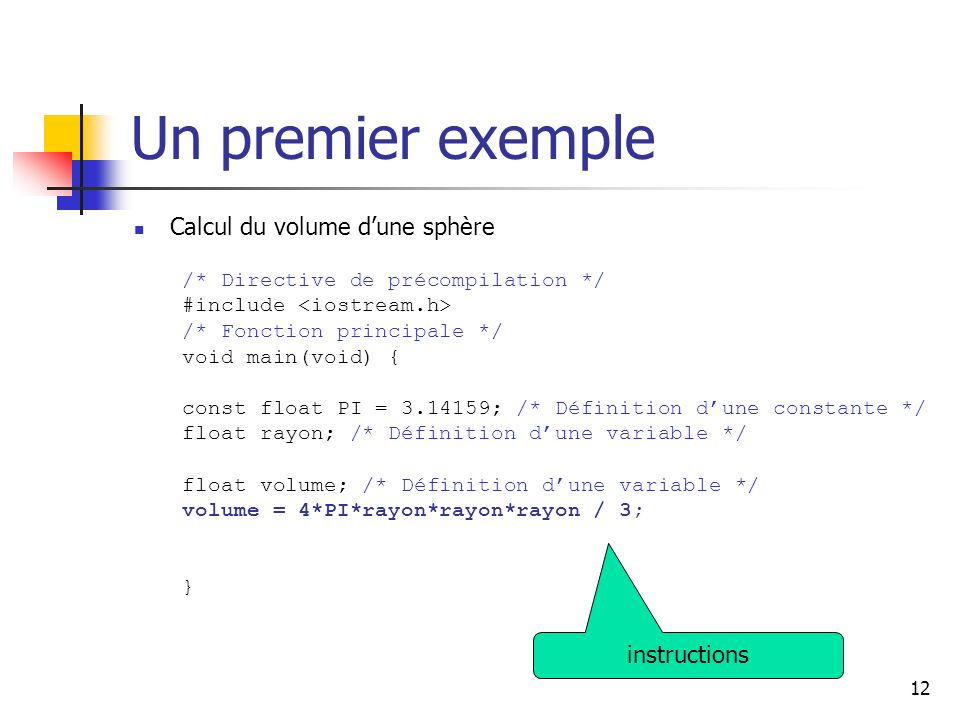 Un premier exemple Calcul du volume d'une sphère instructions