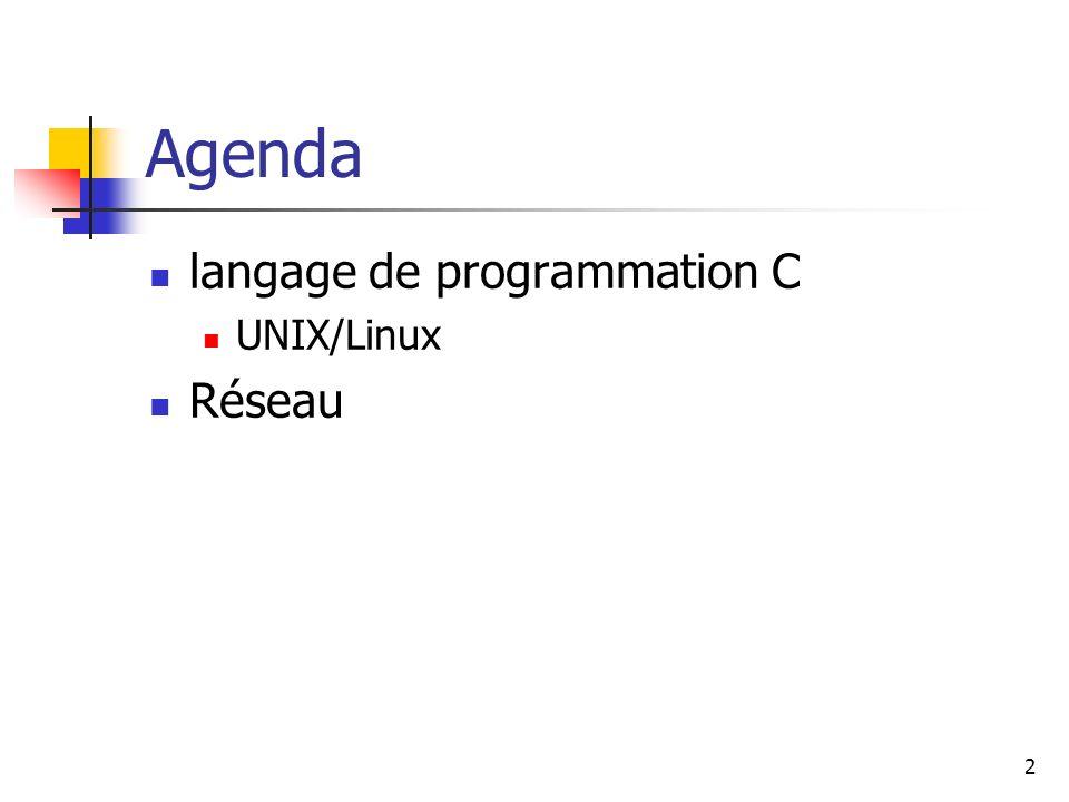 Agenda langage de programmation C UNIX/Linux Réseau