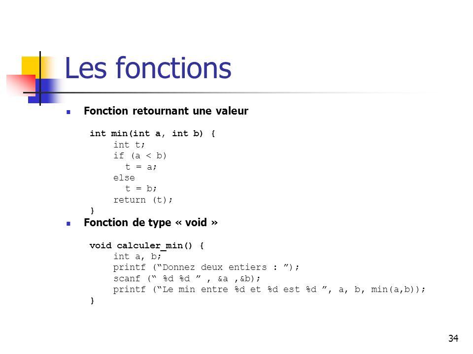 Les fonctions Fonction retournant une valeur Fonction de type « void »