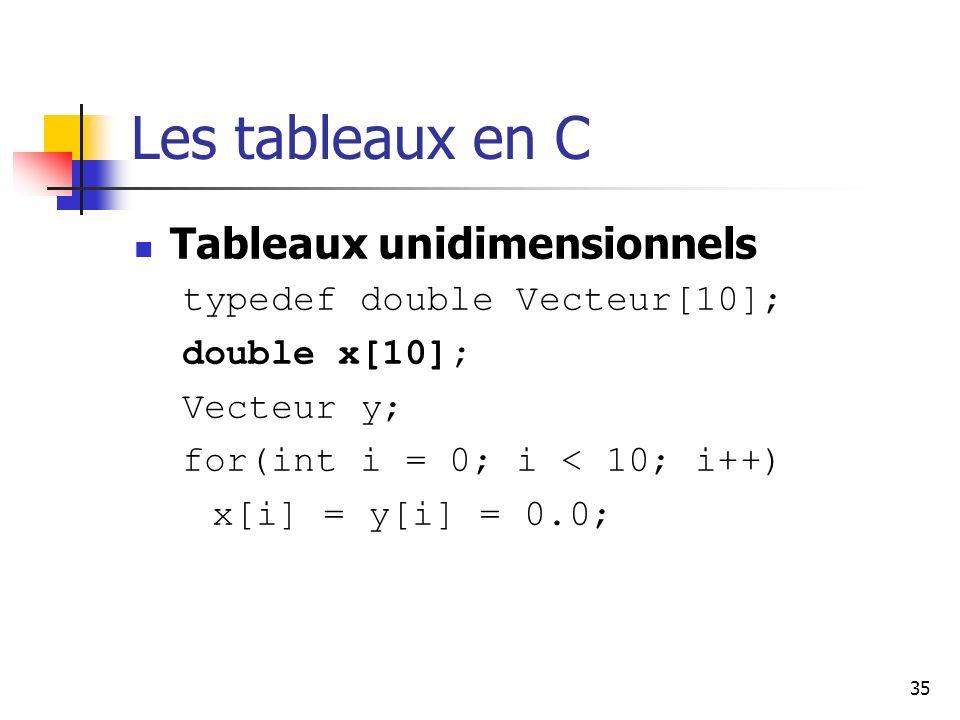 Les tableaux en C Tableaux unidimensionnels