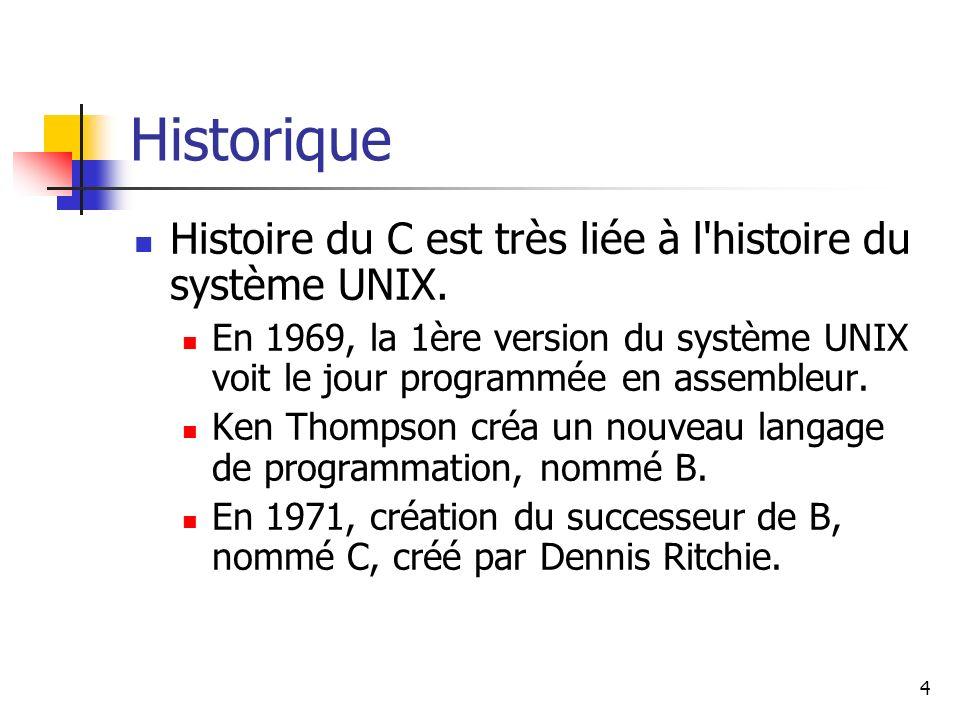 Historique Histoire du C est très liée à l histoire du système UNIX.