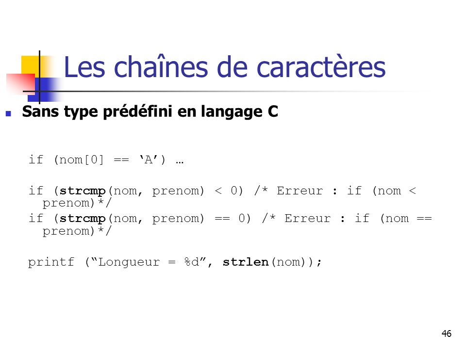 Les chaînes de caractères