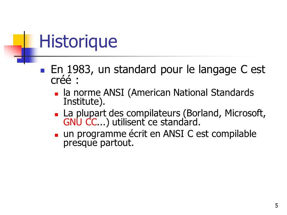 Historique En 1983, un standard pour le langage C est créé :