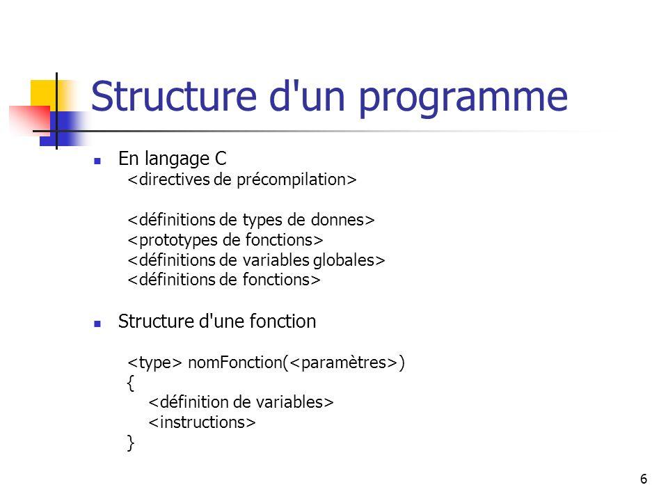Structure d un programme