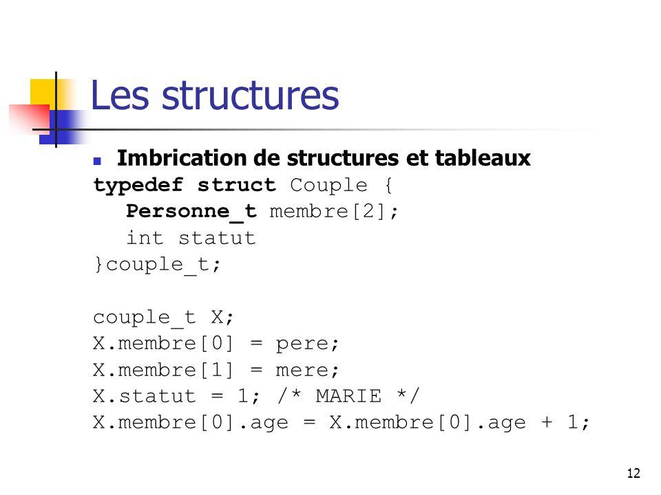 Les structures Imbrication de structures et tableaux