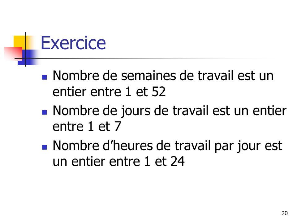 Exercice Nombre de semaines de travail est un entier entre 1 et 52