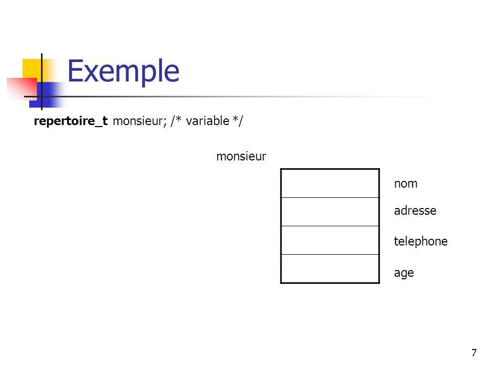 Exemple repertoire_t monsieur; /* variable */ monsieur nom adresse