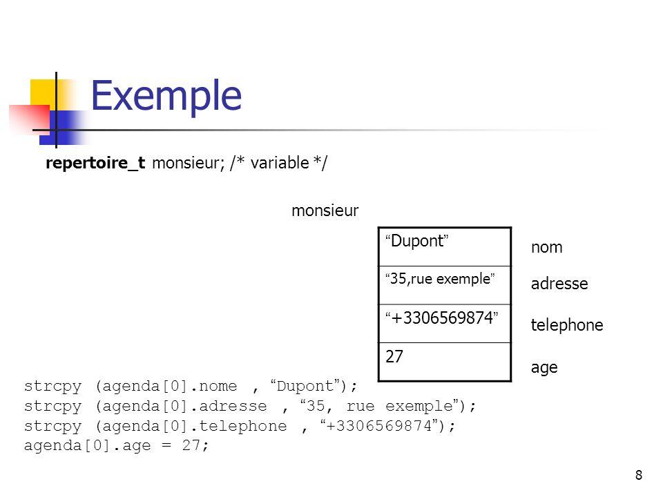 Exemple Dupont +3306569874 repertoire_t monsieur; /* variable */