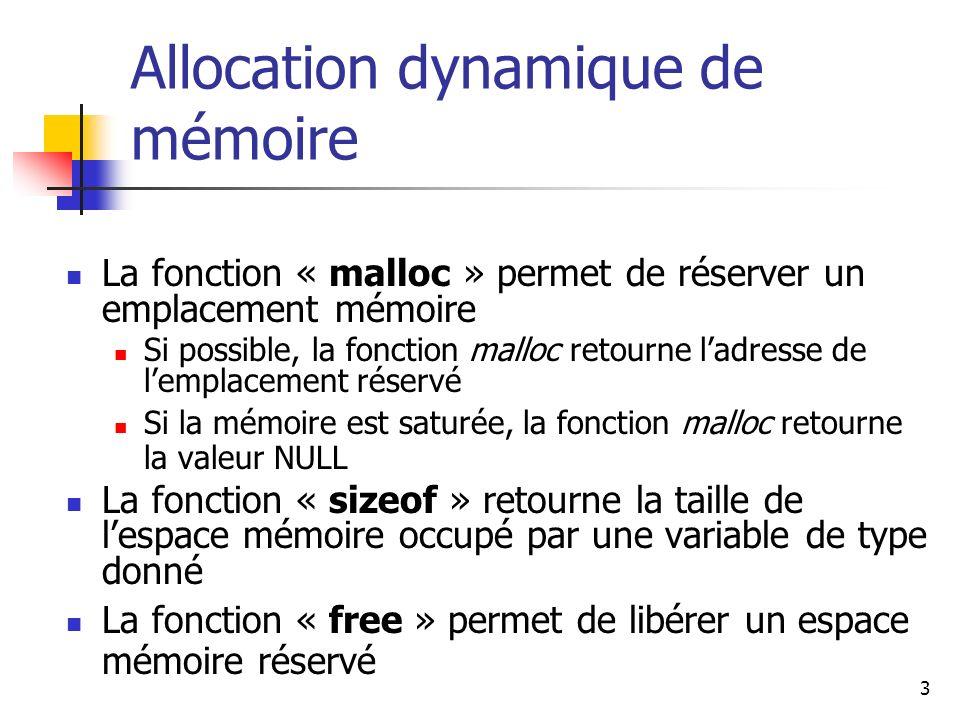 Allocation dynamique de mémoire