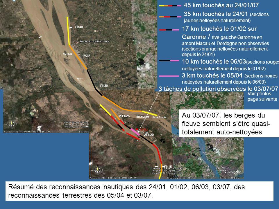Fort Paté PK35. PK40. 45 km touchés au 24/01/07. 35 km touchés le 24/01 (sections jaunes nettoyées naturellement)