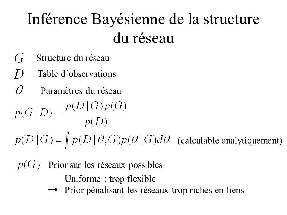 Inférence Bayésienne de la structure du réseau