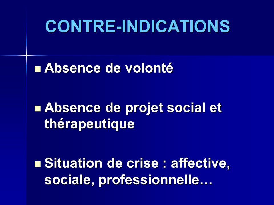 CONTRE-INDICATIONS Absence de volonté