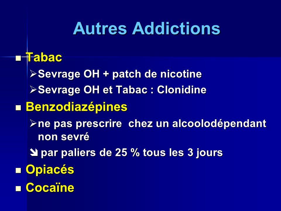Autres Addictions Tabac Benzodiazépines Opiacés Cocaïne