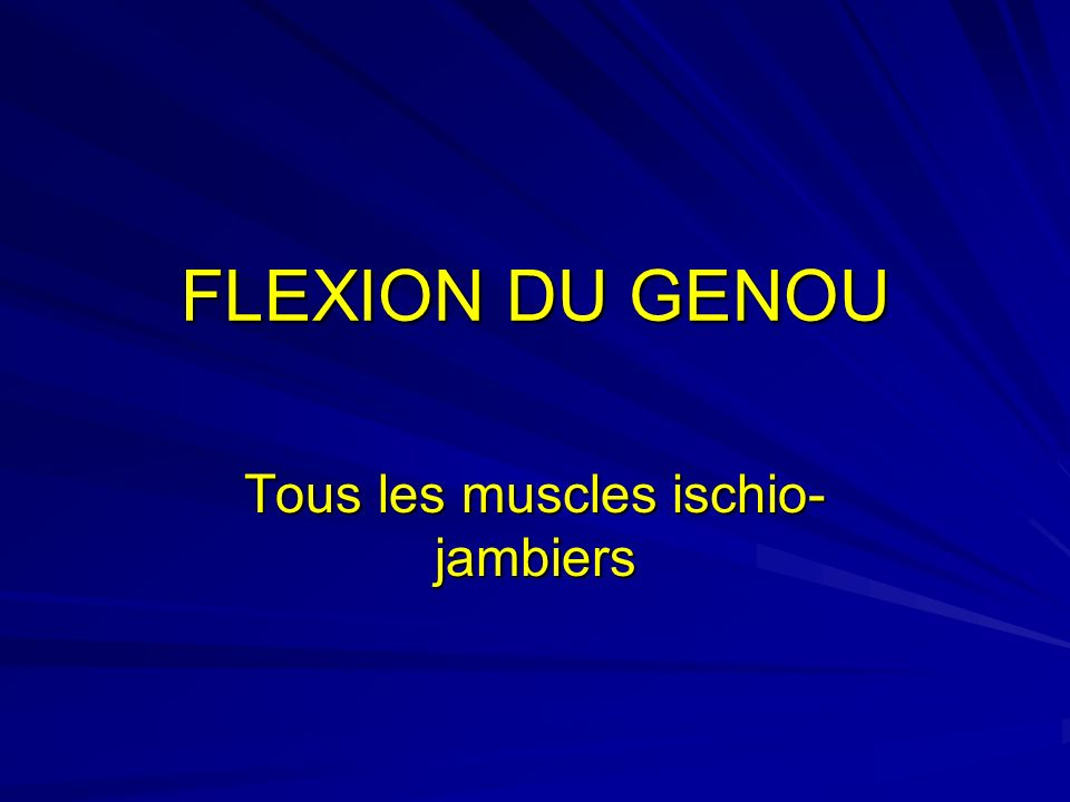 Tous les muscles ischio-jambiers