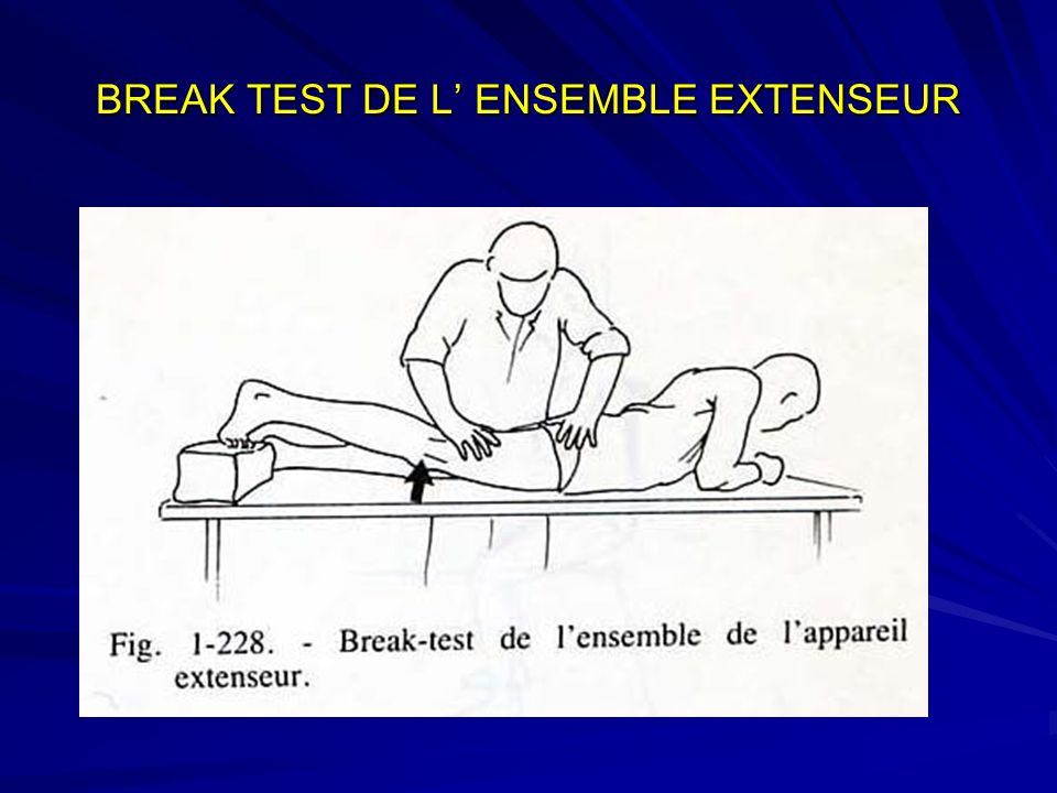 BREAK TEST DE L' ENSEMBLE EXTENSEUR