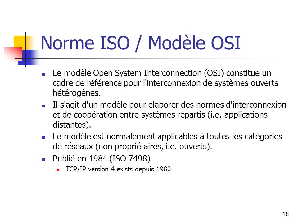 Norme ISO / Modèle OSI