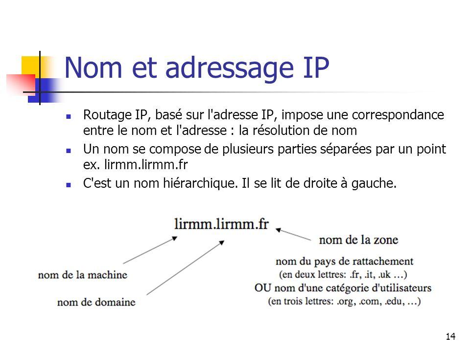 Nom et adressage IP Routage IP, basé sur l adresse IP, impose une correspondance entre le nom et l adresse : la résolution de nom.