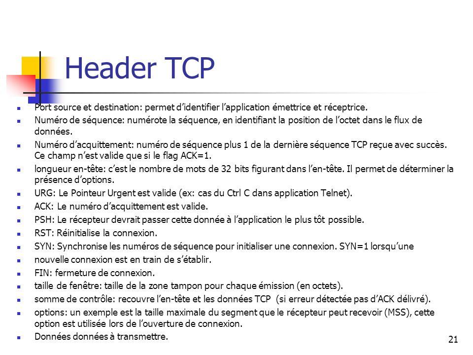 Header TCP Port source et destination: permet d'identifier l'application émettrice et réceptrice.