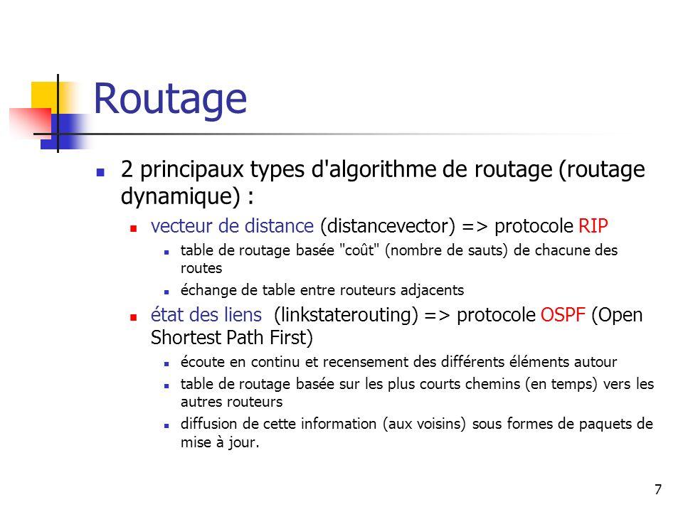 Routage 2 principaux types d algorithme de routage (routage dynamique) : vecteur de distance (distancevector) => protocole RIP.