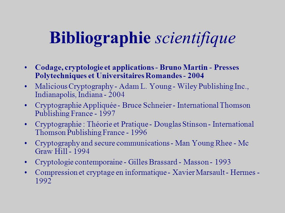 Bibliographie scientifique