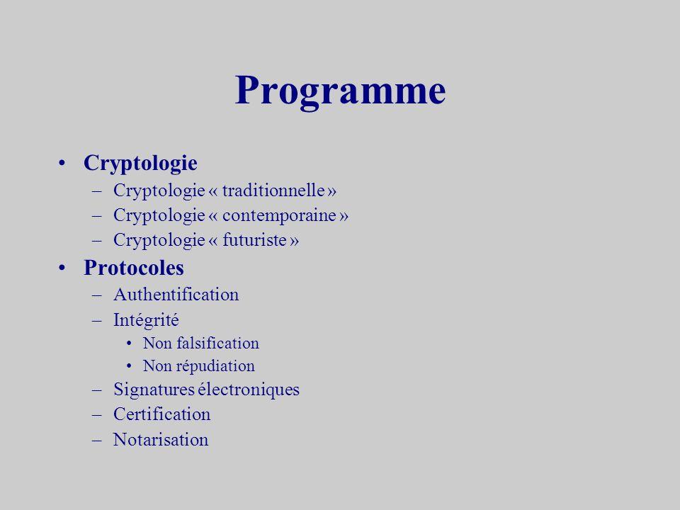 Programme Cryptologie Protocoles Cryptologie « traditionnelle »