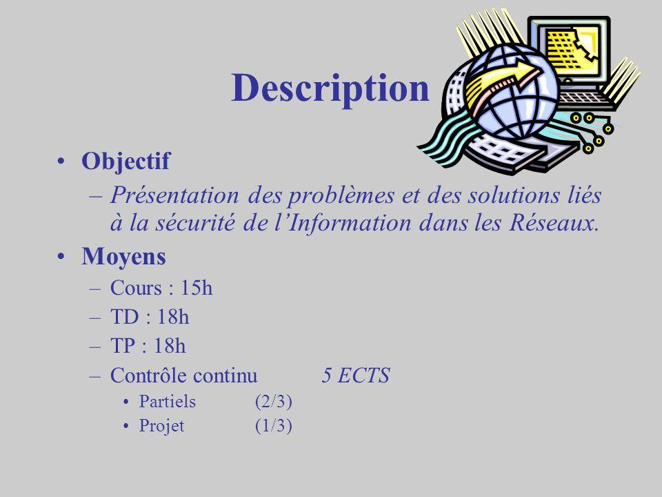 Description Objectif. Présentation des problèmes et des solutions liés à la sécurité de l'Information dans les Réseaux.