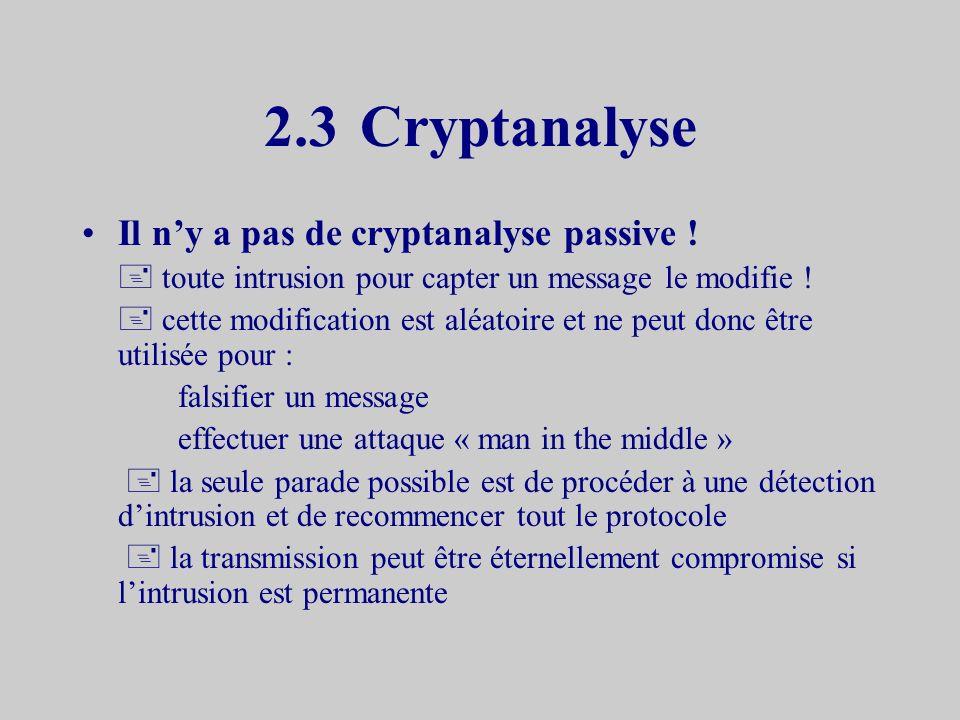 2.3 Cryptanalyse Il n'y a pas de cryptanalyse passive !