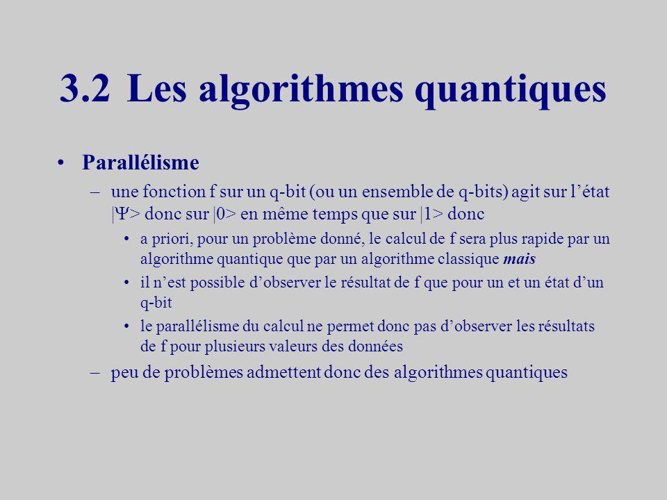 3.2 Les algorithmes quantiques