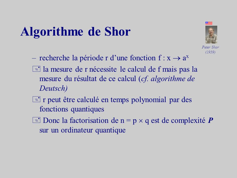 Algorithme de Shor recherche la période r d'une fonction f : x  ax