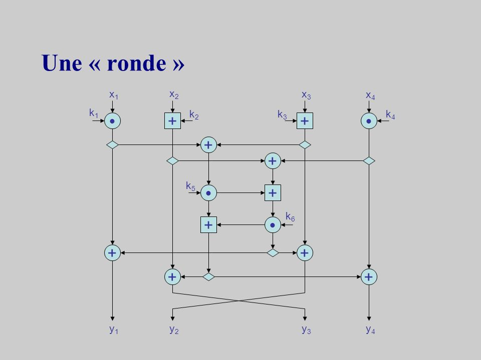 Une « ronde » + + + + + + + + + + x1 x2 x3 x4 k1 k2 k3 k4 k5 k6 y1 y2