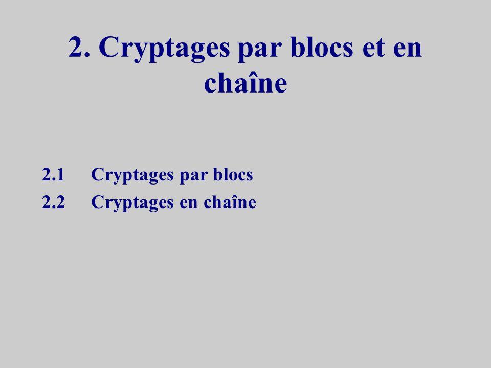 2. Cryptages par blocs et en chaîne