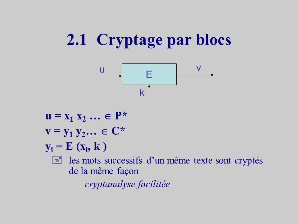 2.1 Cryptage par blocs u = x1 x2 …  P* v = y1 y2…  C*