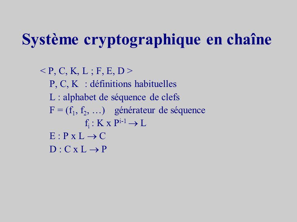 Système cryptographique en chaîne