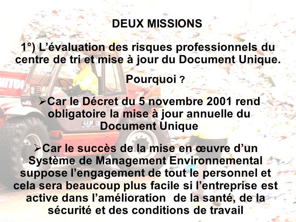 DEUX MISSIONS 1°) L'évaluation des risques professionnels du centre de tri et mise à jour du Document Unique.