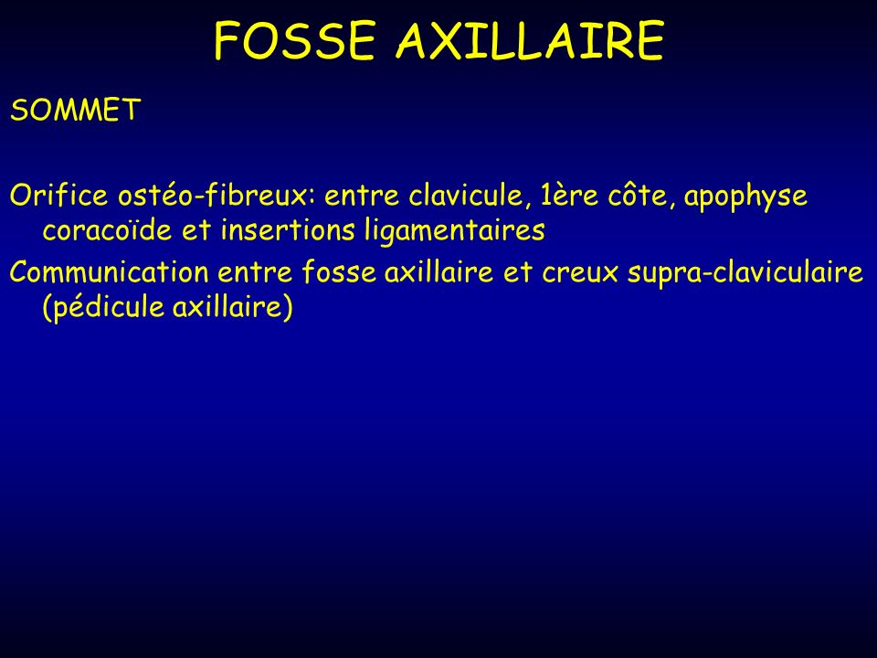 FOSSE AXILLAIRE SOMMET