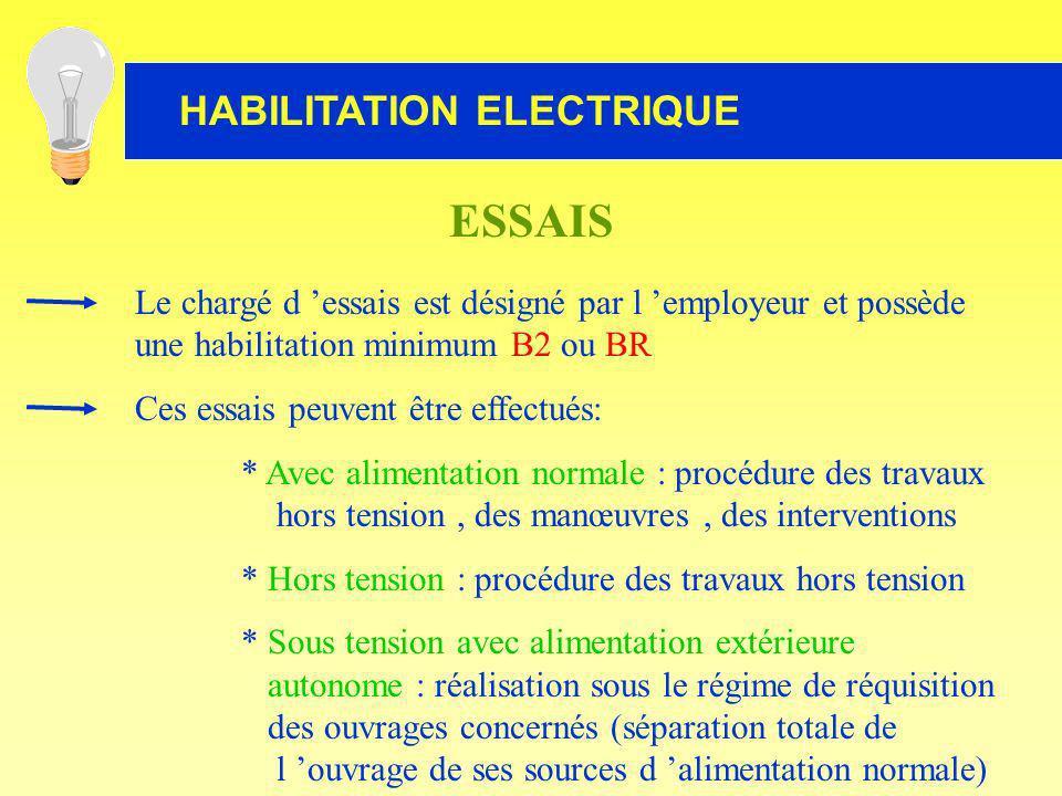 ESSAIS Le chargé d 'essais est désigné par l 'employeur et possède une habilitation minimum B2 ou BR.