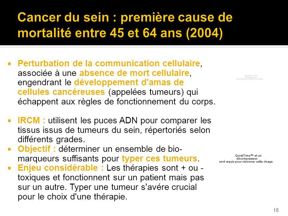 Cancer du sein : première cause de mortalité entre 45 et 64 ans (2004)