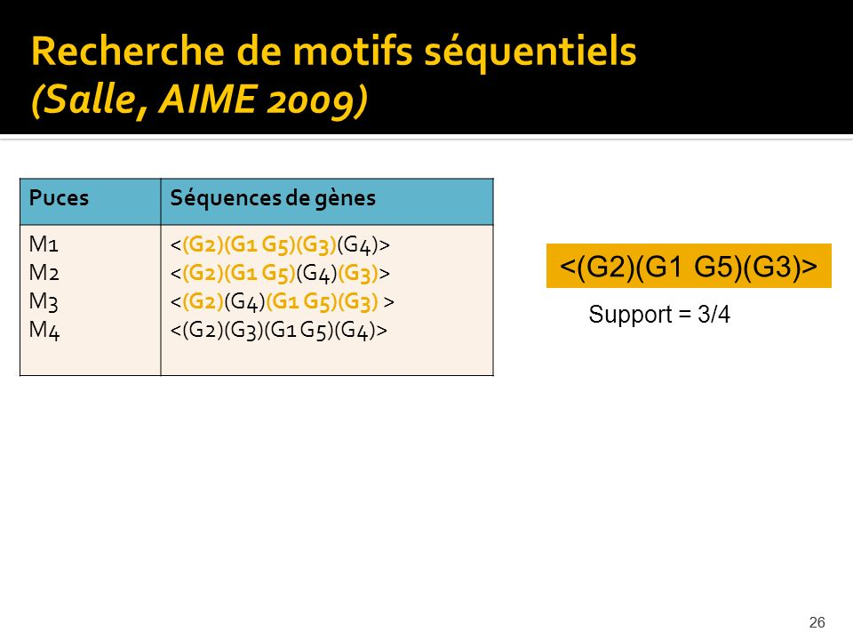Recherche de motifs séquentiels (Salle, AIME 2009)