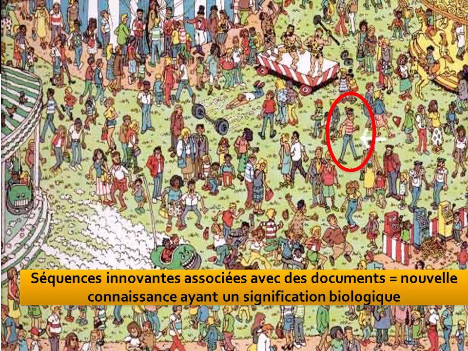Séquences innovantes associées avec des documents = nouvelle connaissance ayant un signification biologique