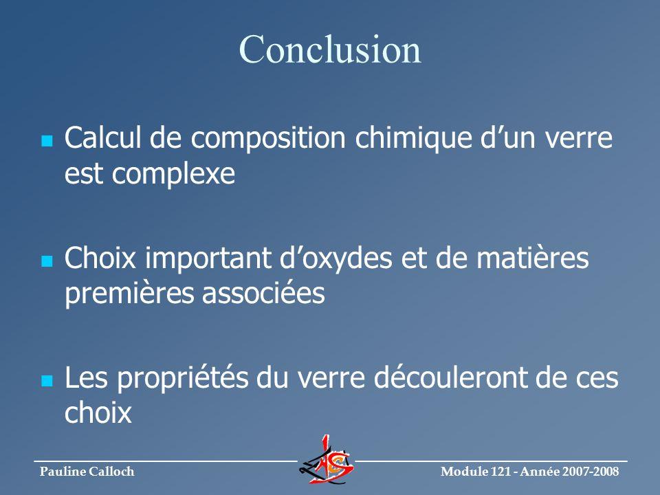 Conclusion Calcul de composition chimique d'un verre est complexe