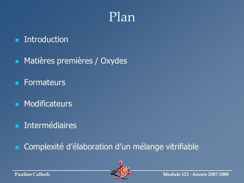 Plan Introduction Matières premières / Oxydes Formateurs Modificateurs