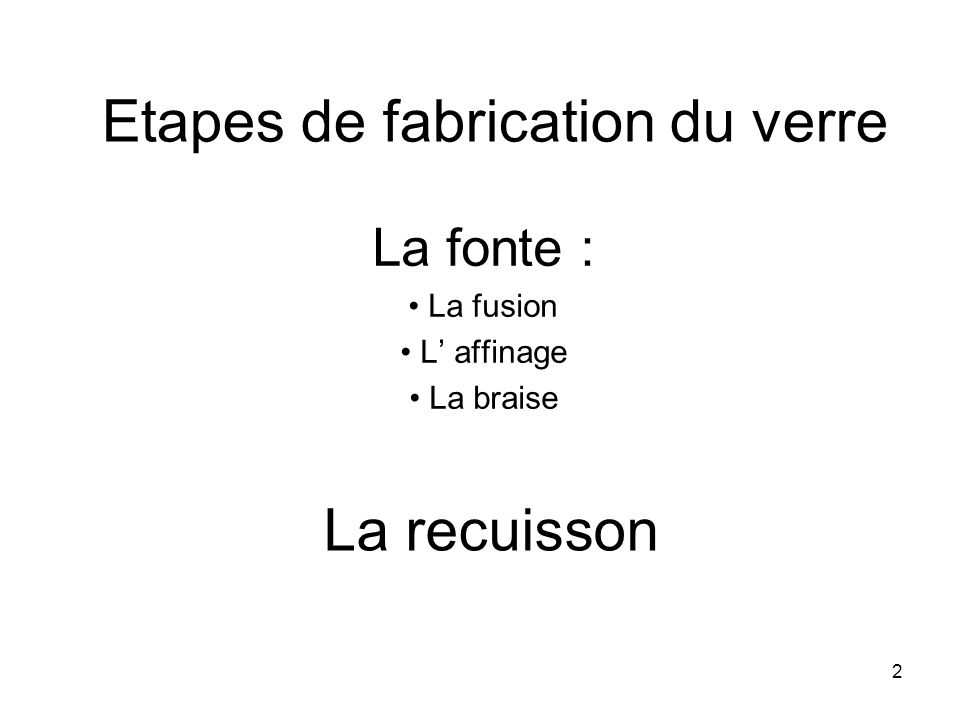 Etapes de fabrication du verre