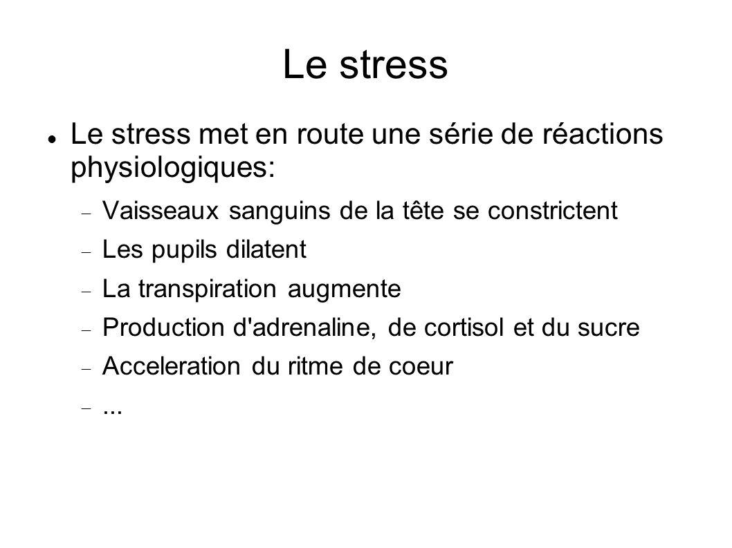 Le stress Le stress met en route une série de réactions physiologiques: Vaisseaux sanguins de la tête se constrictent.